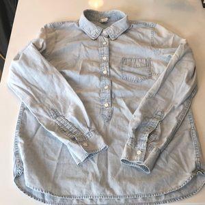 Jcrew cotton denim button down shirt